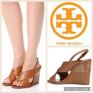 Tory Burch Gabrielle Wedge Sandal (royal tan)